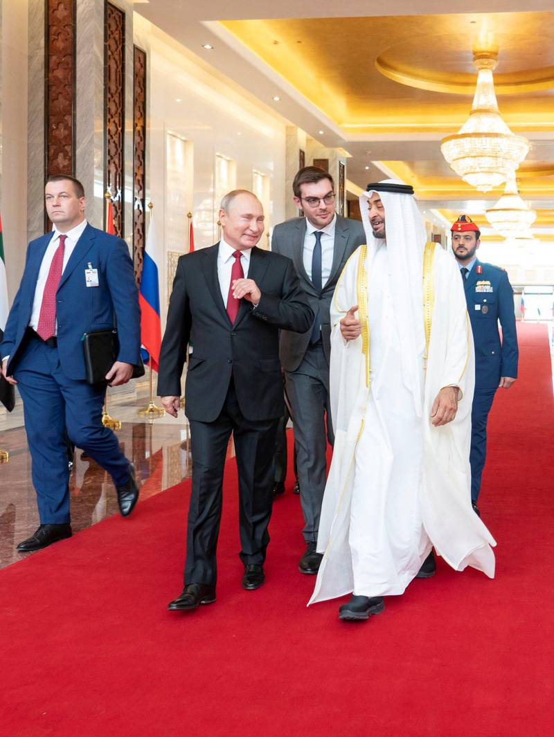 Mohamed bin Zayed receives Russian President Vladimir Putin at Qasr Al Watan, commencing a state visit to the UAE. Mohammed bin Zayed twitter account