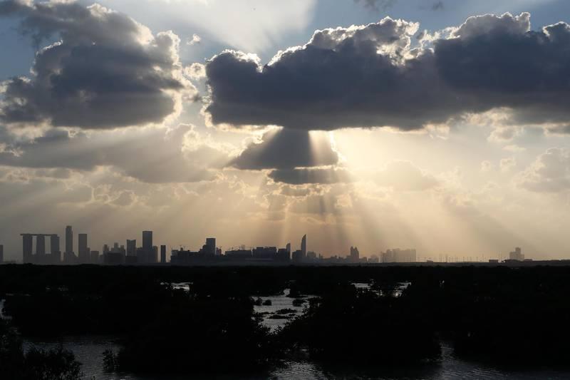 ABU DHABI , UNITED ARAB EMIRATES, Jan 12  – 2020 :- Clouds over Abu Dhabi City taken from Sheikh Khalifa bin Zayed Al Nahyan highway in Abu Dhabi.  (Pawan Singh / The National) For News/Standalone/Big Picture