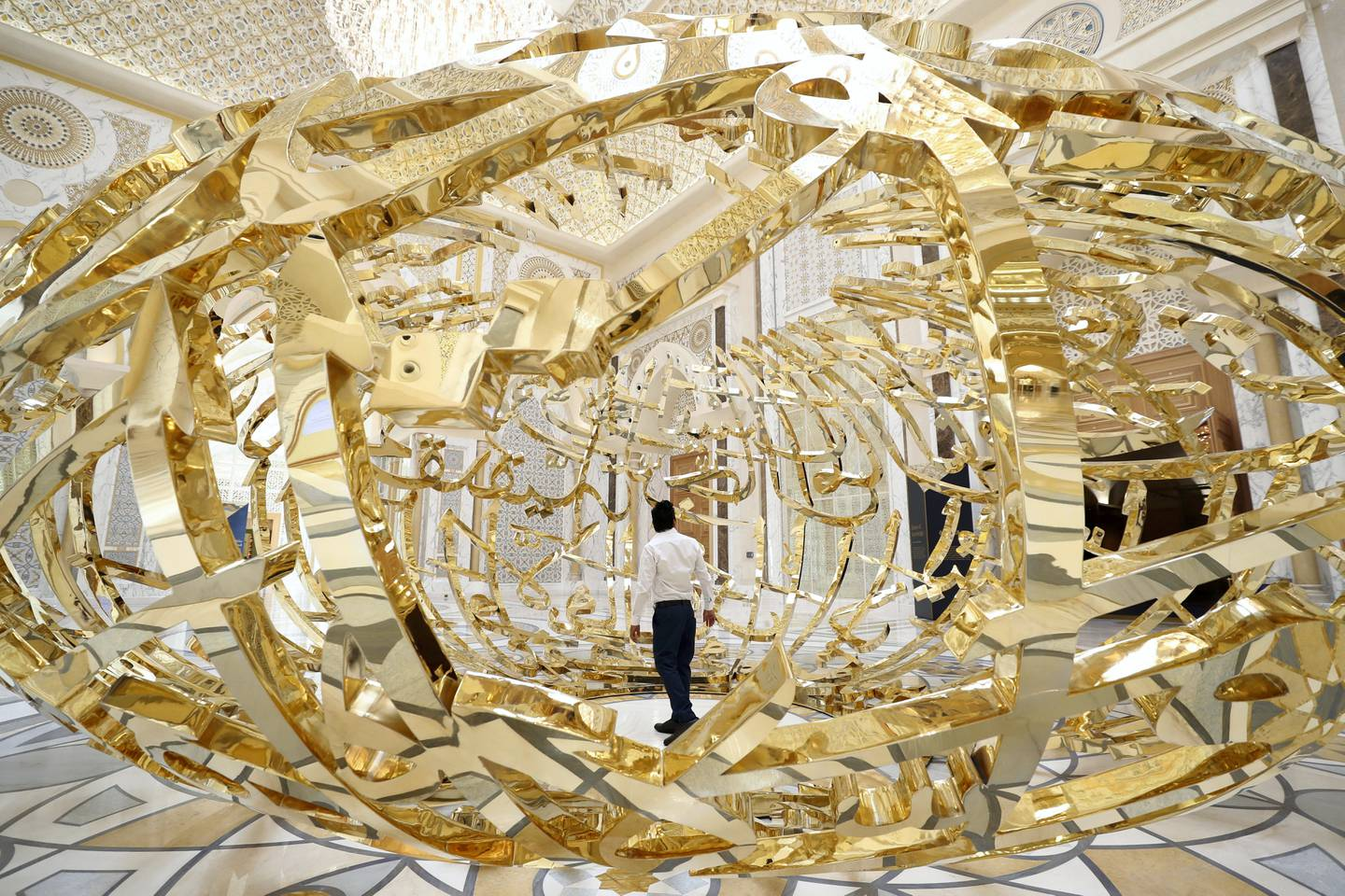 Abu Dhabi, United Arab Emirates - March 11, 2019: Santos looks at The Power of Words. Exclusive preview and guided tour of Qasr Al Watan, the UAEÕs new cultural landmark. Monday the 11th of March 2019 at Qasr Al Watan, Abu Dhabi. Chris Whiteoak / The National