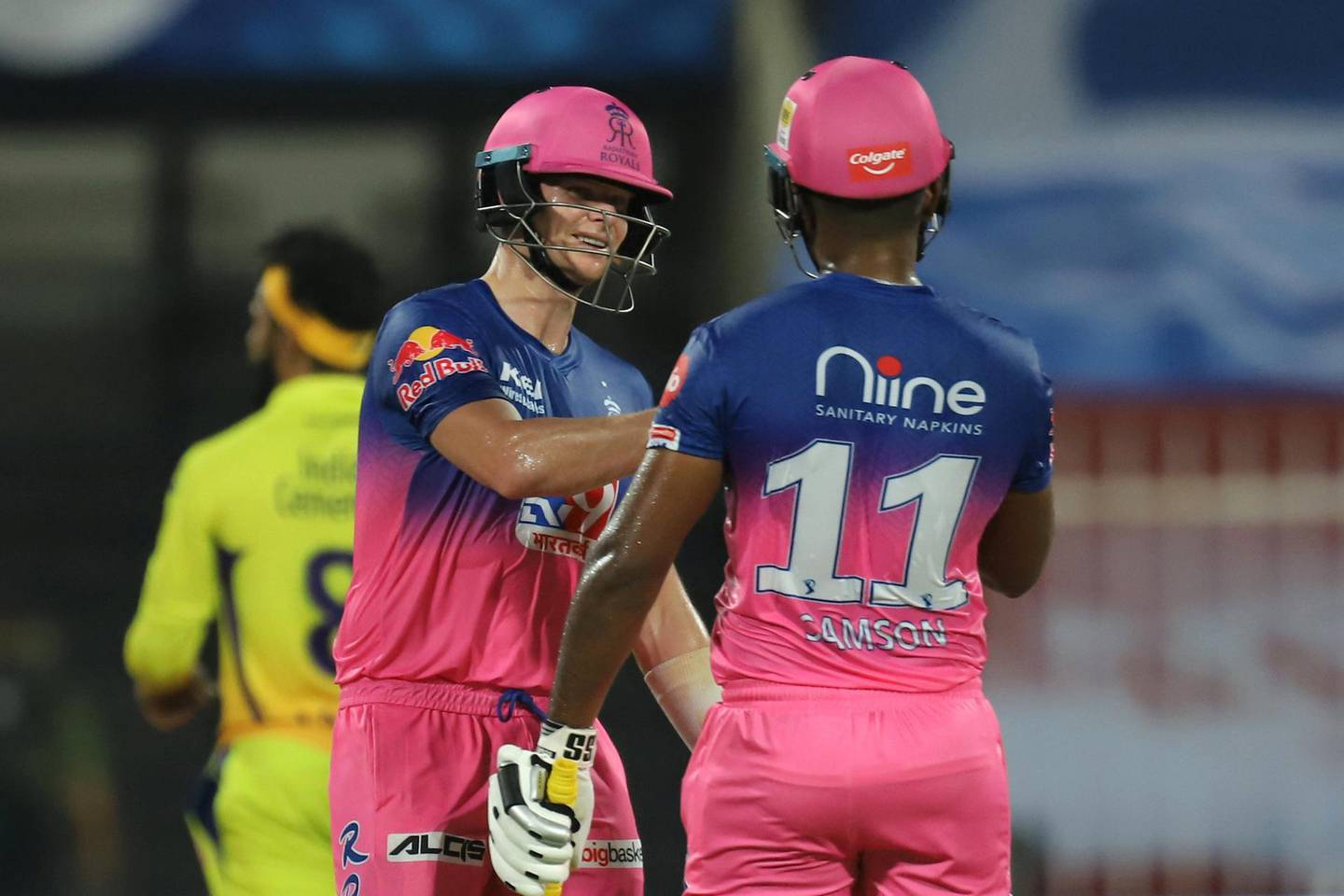 Steve Smith captain of Rajasthan Royals and Sanju Samson of Rajasthan Royals during match 4 of season 13 of the Dream 11 Indian Premier League (IPL) between Rajasthan Royals and Chennai Super Kings held at the Sharjah Cricket Stadium, Sharjah in the United Arab Emirates on the 22nd September 2020. Photo by: Deepak Malik  / Sportzpics for BCCI