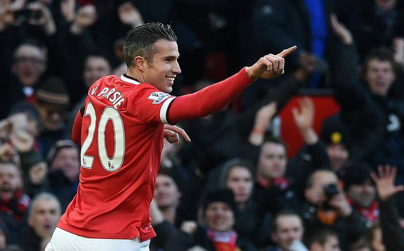 """Manchester United's Dutch striker Robin van Persie celebrates scoring the opening goal during the English Premier League football match between Manchester United and Leicester City at Old Trafford in Manchester, northwest England, on January 31, 2015.  AFP PHOTO / PAUL ELLISRESTRICTED TO EDITORIAL USE. No use with unauthorized audio, video, data, fixture lists, club/league logos or """"live"""" services. Online in-match use limited to 45 images, no video emulation. No use in betting, games or single club/league/player publications / AFP PHOTO / PAUL ELLIS"""