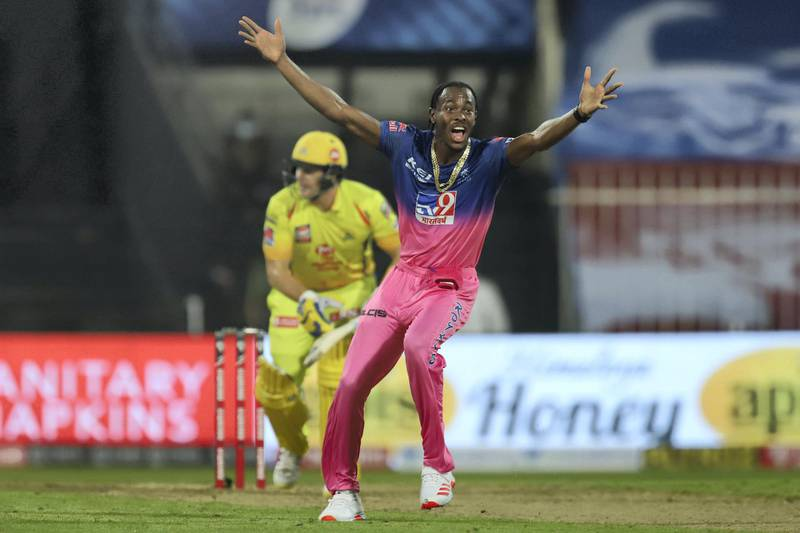 Jofra Archer of Rajasthan Royals appeals unsuccessfully during match 4 of season 13 of the Dream 11 Indian Premier League (IPL) between Rajasthan Royals and Chennai Super Kings held at the Sharjah Cricket Stadium, Sharjah in the United Arab Emirates on the 22nd September 2020. Photo by: Deepak Malik  / Sportzpics for BCCI