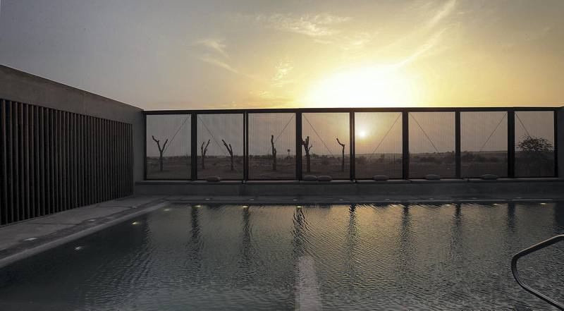Sharjah, August, 18, 2019: General view of the Swimming Pool at the Al Faya Lodge in Sharjah. Satish Kumar/ For the National / Story by Rupert Hawksley