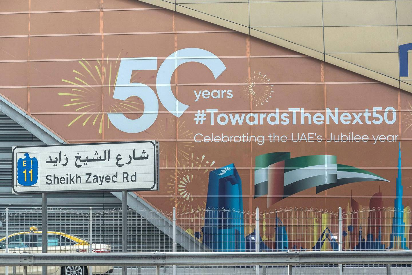 DUBAI, UNITED ARAB EMIRATES. 20 MARCH 2021. 50 Year celebration message of the forming of the UAE on a Dubai Metro station. (Photo: Antonie Robertson/The National) Journalist: None. Section: National.
