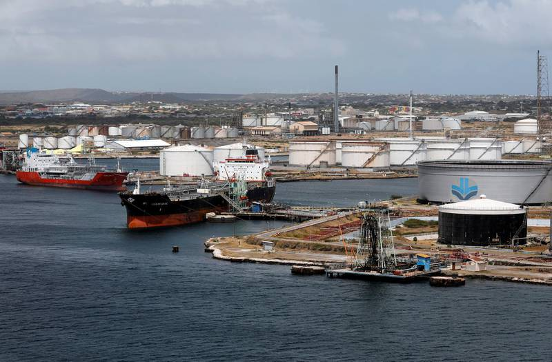 FILE PHOTO: Crude oil tankers are docked at Isla Oil Refinery PDVSA terminal in Willemstad on the island of Curacao, February 22, 2019. REUTERS/Henry Romero -/File Photo