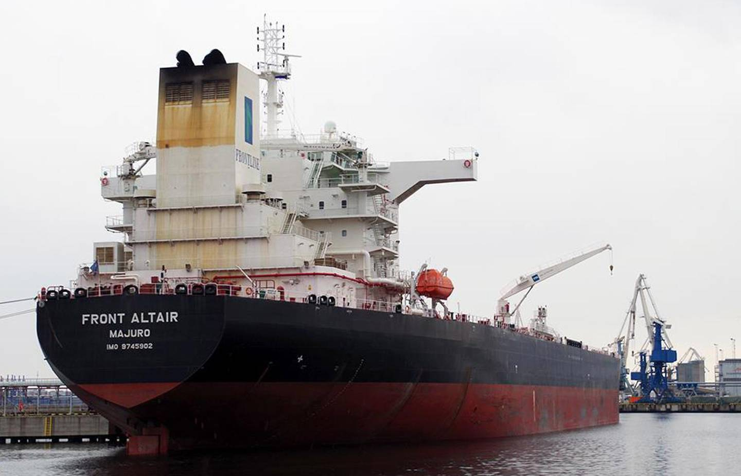 epa07645033 A picture provided by Artjom Lofitski shows the Norwegian crude oil tanker Front Altair at the port of Muuga, Estonia, 29 April 2018 (issued 13 June 2019). According to the Norwegian Maritime Authority, the Front Altair is currently on fire in the Gulf of Oman after allegedly being attacked and in the early morning of 13 June between the UAE and Iran.  EPA/ARTJOM LOFITSKI / MARINETRAFFIC.COM MANDATROY CREDIT: ARTJOM LOFITSKI HANDOUT EDITORIAL USE ONLY/NO SALES