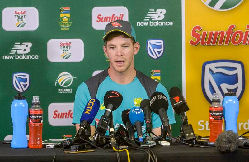 JOHANNESBURG, SOUTH AFRICA - APRIL 03: Captain Tim Paine of Australia during day 5 of the 4th Sunfoil Test match between South Africa and Australia at Bidvest Wanderers Stadium on April 03, 2018 in Johannesburg, South Africa. (Photo by Sydney Seshibedi/Gallo Images/Getty Images)