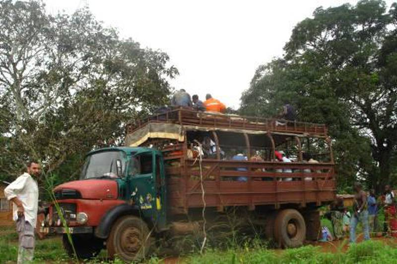 The truck Scott MacMillan travelled in on the road from Doussala to Dolisie in Republic of the Congo.  For travel. Photo by Scott MacMillan