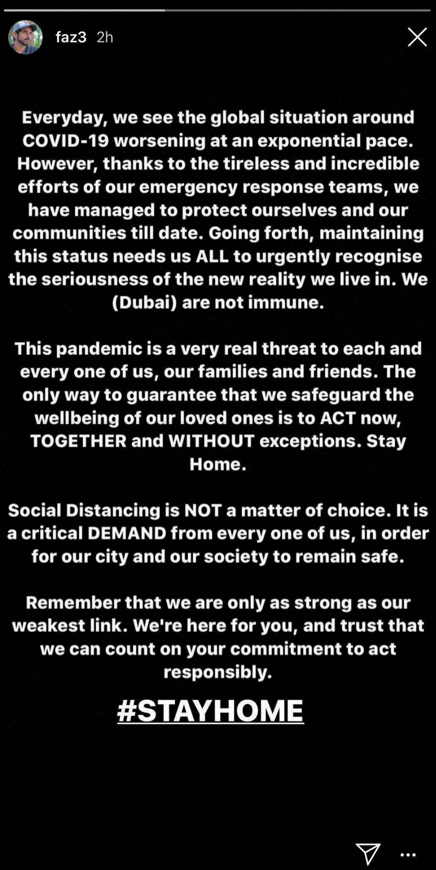 Sheikh Hamdan's Instagram / Instastory message regarding coronavirus and social distancing.