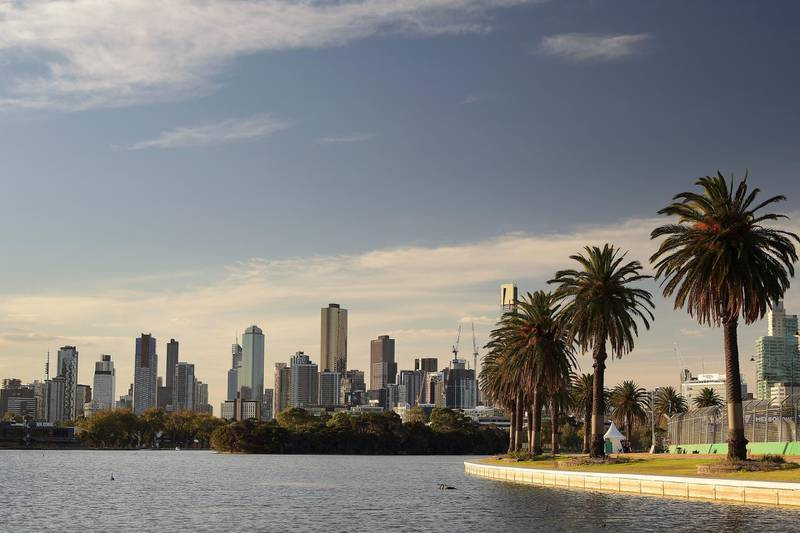 MELBOURNE, AUSTRALIA - MARCH 22:  (EDITORS NOTE: A polarizing filter was used for this image.) The Melbourne city skyline is pictured from Albert Park lake during the Supercars Australian Grand Prix round at Albert Park on March 22, 2018 in Melbourne, Australia.  (Photo by Daniel Kalisz/Getty Images)