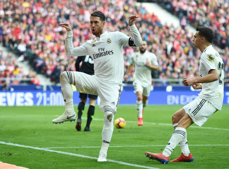 MADRID, SPAIN - FEBRUARY 09:  Sergio Ramos of Real Madrid celebrates after scoring his team's second goal from a penalty during the La Liga match between Club Atletico de Madrid and Real Madrid CF at Wanda Metropolitano on February 09, 2019 in Madrid, Spain. (Photo by Denis Doyle/Getty Images)