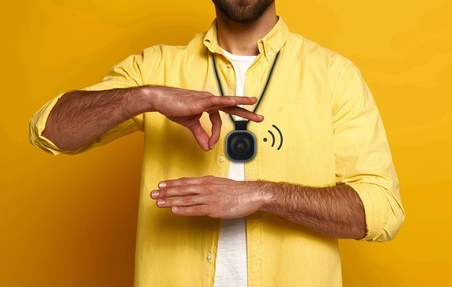 Man showing gesture in deaf and dumb language on yellow background; Shutterstock ID 1712944213; Purchase Order (valid Channel 5 PO only): -