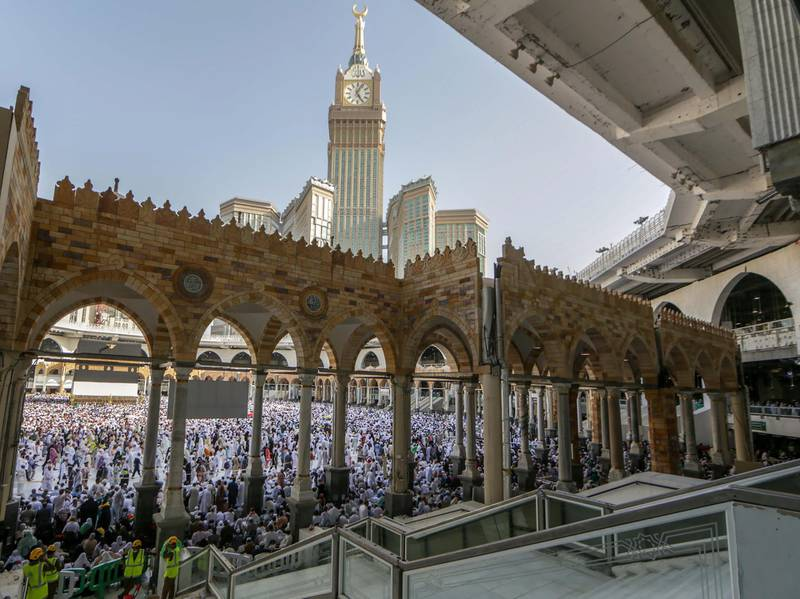 epa07761071 Muslim pilgrims gather inside the Sacred Mosque, Mecca, Saudi Arabia, 07 August 2019. According to Saudi authorities, some 1.8 million Hajj pilgrims have arrived so far in the kingdom for the  yearly religious rite. Around 2.5 million Muslims are expected to attend this year's Hajj pilgrimage, which is highlighted by the Day of Arafah, one day prior to Eid al-Adha. Eid al-Adha is the holiest of the two Muslims holidays celebrated each year, it marks the yearly Muslim pilgrimage (Hajj) to visit Mecca, the holiest place in Islam.  EPA/STR