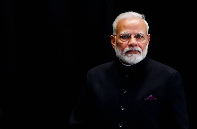 epa07867022 India's Prime Minister Narendra Modi arrives at the start of an annual luncheon for heads of state on the sidelines the general debate of the 74th session of the General Assembly of the United Nations at United Nations Headquarters in New York, New York, USA, 24 September 2019. The annual meeting of world leaders at the United Nations runs until 30 September 2019.  EPA/JUSTIN LANE