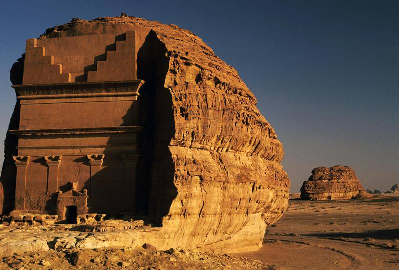 Nabatean rock-cut tomb at Madain Saleh, near Al-Ula, Saudi Arabia. Amar Grover for the National. for travel story saudi
