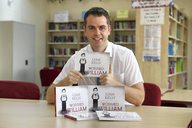 ABU DHABI , UNITED ARAB EMIRATES , MAY 10 – 2018 :- Liam Kelly , a teacher at Diyafah International School is writing a series of 21 books , the Worried William Book Series with his books at the Diyafah International School in Abu Dhabi.  ( Pawan Singh / The National )  For News. Story by Gillia