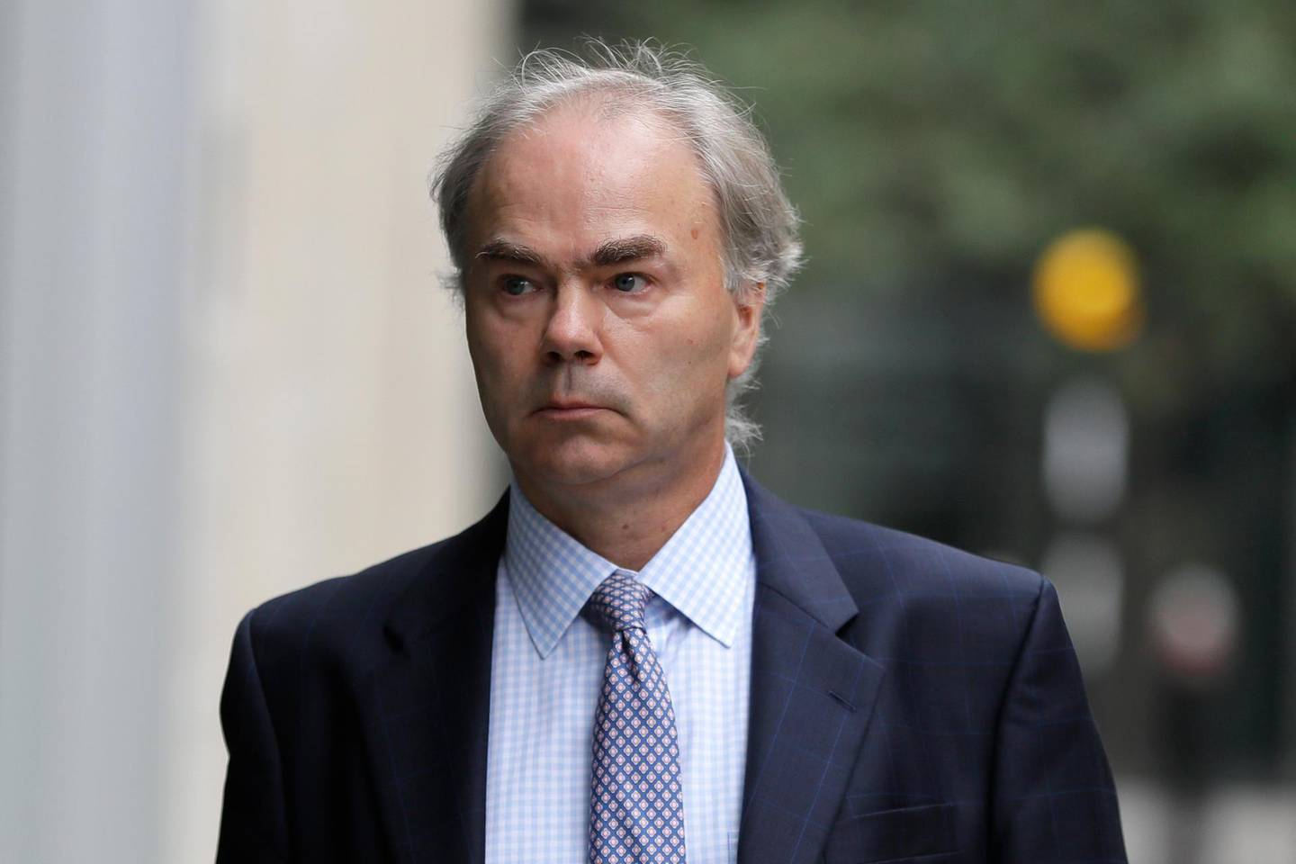"""Justin Rushbrooke QC who is representing Meghan, the Duchess of Sussex arrives at the High Court in London, Monday, Sept. 21, 2020. The next stage in the Duchess of Sussex's legal action against a British newspaper over its publication of a """"private and confidential"""" letter to her estranged father is due to be heard at the High Court. (AP Photo/Kirsty Wigglesworth)"""