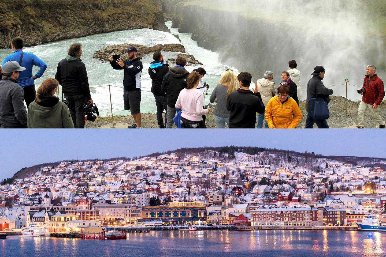 REYKJAVIK, ICELAND - JUNE 13: Tourists visit the Gulfoss waterfall in Reykjavik, Iceland on June 13, 2017.  (Photo by Hasan Esen/Anadolu Agency/Getty Images)