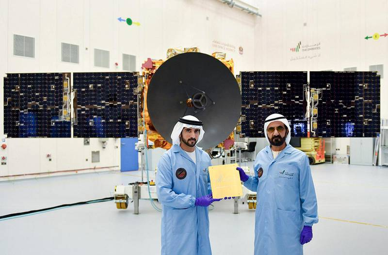 """Mohammed bin Rashid while attending the installation of the last piece of the """"Probe of Hope"""": Our country is a pioneer in writing history and making achievements, and we will give the world a wealth of space science and knowledge. The probe of hope prepares for the launch of Mars, bringing with it the message of an Emirati homeland, the hope of a nation, and the aspirations of Arab and Islamic peoples for a bright future. Dubai Media Office Twitter Account"""