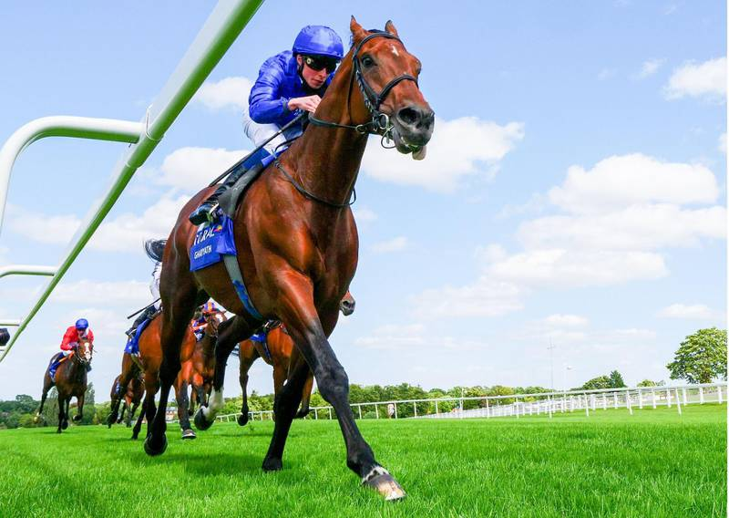 Jockey William Buick rides Ghaiyyath to victory in The Eclipse Stakes at Sandown, south-west of London on July 5, 2020.   / AFP / POOL / Mark Cranham