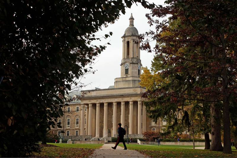 This is Old Main on the Penn State University main campus in State College, Pa.Thursday, Nov. 9, 2017. (AP Photo/Gene J. Puskar)