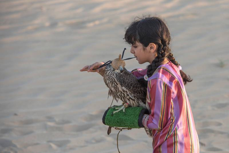 When taking  the hood off the falcon Osha pull the short strings, and when putting the hood on its head she pull the long string at Abu Dhabi Desert, UAE. Vidhyaa for The National