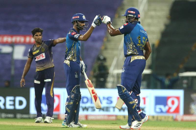 Krunal Pandya of Mumbai Indians and Kieron Pollard of Mumbai Indians  during match 5 of season 13 of the Dream 11 Indian Premier League (IPL) between the Kolkata Knight Riders and the Mumbai Indians held at the Sheikh Zayed Stadium, Abu Dhabi  in the United Arab Emirates on the 23rd September 2020.  Photo by: Vipin Pawar  / Sportzpics for BCCI