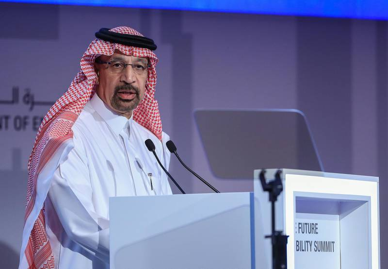 Abu Dhabi, U.A.E., Janualry 15, 2019.  Day 2 Abu Dhabi Sustainability Week.Khalid A. Al-Falih is Minister of Energy, Industry and Mineral Resources of Saudi Arabia during the forum on, Collaborating for a Sustainable Energy Future.Victor Besa / The NationalSection:  NAReporter:  Nick Webster