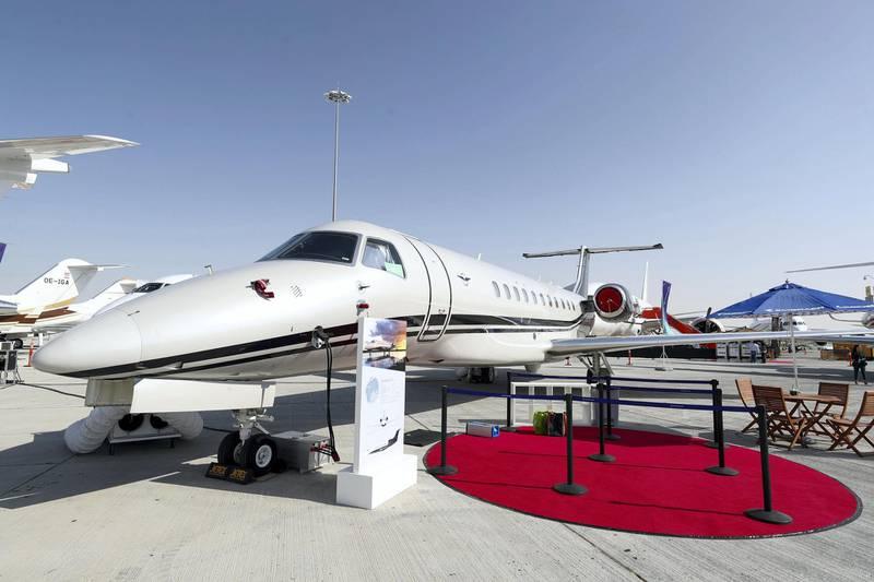 Dubai, United Arab Emirates - December 10, 2018: A Legacy 650E by Embraer. MEBAA Show 2018. Monday the 10th of December 2018 at Al Maktoum International Airport, Dubai. Chris Whiteoak / The National