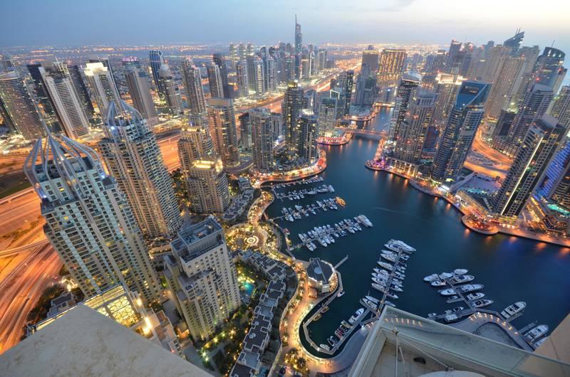 Beautiful Dubai cityscape on Sunset