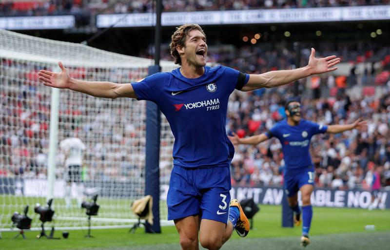 """Football Soccer - Premier League - Tottenham Hotspur vs Chelsea - London, Britain - August 20, 2017   Chelsea's Marcos Alonso celebrates scoring their second goal    Action Images via Reuters/Andrew Couldridge    EDITORIAL USE ONLY. No use with unauthorized audio, video, data, fixture lists, club/league logos or """"live"""" services. Online in-match use limited to 45 images, no video emulation. No use in betting, games or single club/league/player publications. Please contact your account representative for further details."""