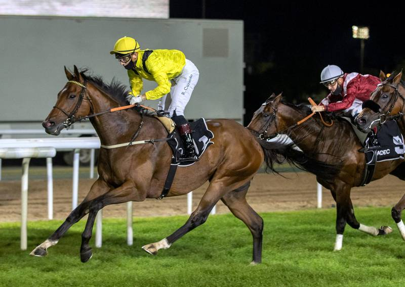 Abu Dhabi, United Arab Emirates, November 15, 2020.   2nd Race Meeting at the Abu Dhabi Equestrian Club.  Ryan Curatolo on Boerhan took the win in the Al Dhafra Rated Conditions race at Abu Dhabi on Sunday.Victor Besa/The NationalSection:  SPReporter: Amith Passela