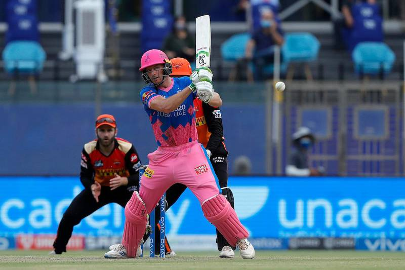 Jos Buttler of Rajasthan Royals during match 28 of the Vivo Indian Premier League between the Rajasthan Royals and the Sunrisers Hyderabad held at the Arun Jaitley Stadium, Delhi, India on the 2nd May 2021Photo by Saikat Das / Sportzpics for IPL