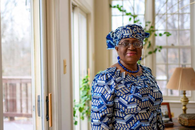 """Nigeria's Ngozi Okonjo-Iweala poses at her home in Potomac, Maryland, near Washington DC, as she was confirmed as the first woman and first African leader of the beleaguered World Trade Organization,on February 15, 2021. Nigerian economist Ngozi Okonjo-Iweala was appointed February 15, 2021 as the first female and first African head of the World Trade Organization, at a special general meeting. """"WTO members have just agreed to appoint Dr. Ngozi Okonjo-Iweala as the next director-general,"""" the global trade body said in a statement, adding that the former Nigerian finance minister and World Bank veteran will take up her post on March 1.   / AFP / Eric BARADAT"""