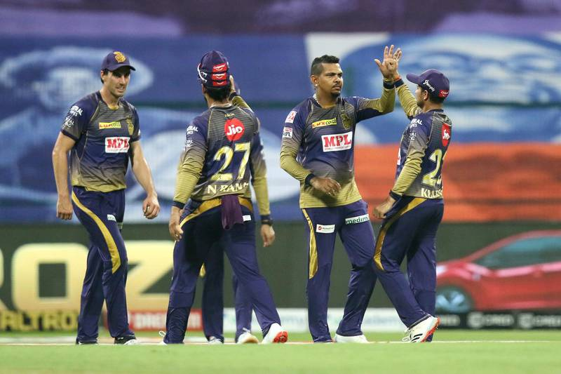 Kolkata Knight Riders players celebrates the wicket of Saurabh Tiwary of Mumbai Indians during match 5 of season 13 of the Dream 11 Indian Premier League (IPL) between the Kolkata Knight Riders and the Mumbai Indians held at the Sheikh Zayed Stadium, Abu Dhabi  in the United Arab Emirates on the 23rd September 2020.  Photo by: Vipin Pawar  / Sportzpics for BCCI