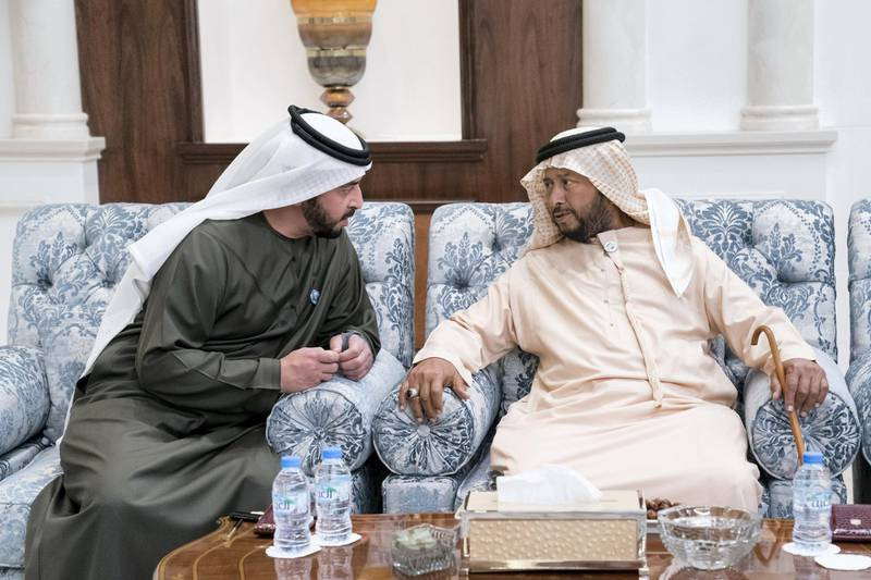 ABU DHABI, UNITED ARAB EMIRATES - January 30, 2018: HH Sheikh Sultan bin Zayed Al Nahyan, UAE President's Representative (R) and HH Sheikh Hamdan bin Zayed Al Nahyan, Ruler's Representative in Al Dhafra Region (L), receive mourners who are offering condolences on the passing of HH Sheikha Hessa bint Mohamed Al Nahyan, at Mushrif Palace. ( Hamad Al Kaabi / Crown Prince Court - Abu Dhabi ) —
