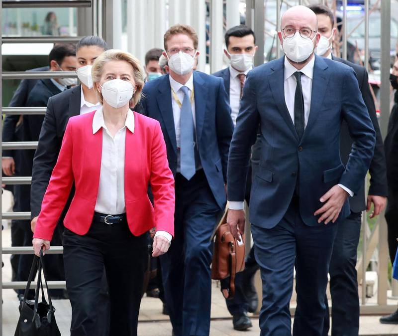 European Commission President Ursula von der Leyen (L) and EU Council President Charles Michel (R) arrive for a joint news conference after talks with Turkey's President in Ankara on April 6, 2021.  / AFP / Adem ALTAN