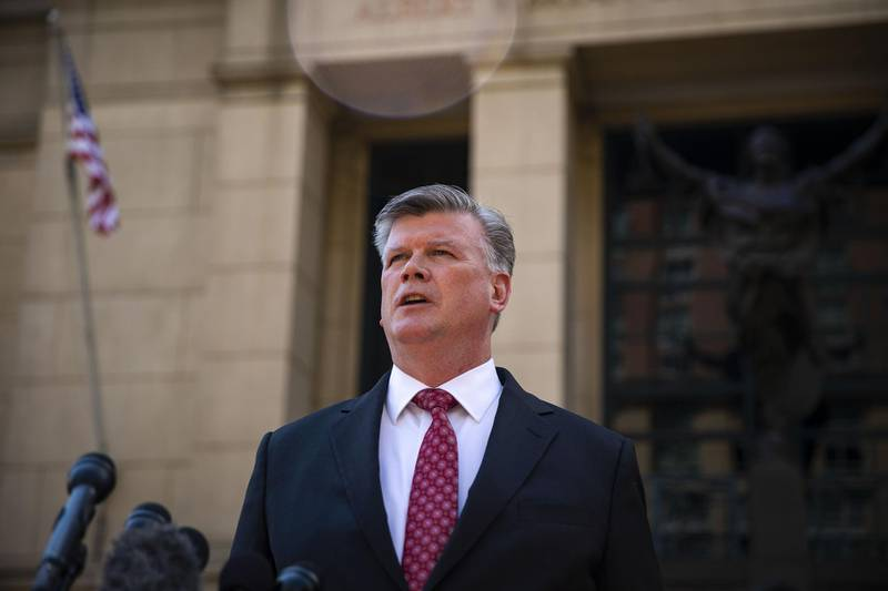 Kevin Downing, lead lawyer for former Donald Trump Campaign Manager Paul Manafort, speaks to members of the media outside District Court in Alexandria, Virginia, U.S., on Tuesday, Aug. 14, 2018. Manafort's legal team rested its case on today, setting the stage for closing arguments before the judge hands the case to jurors for a verdict. Photographer: Al Drago/Bloomberg