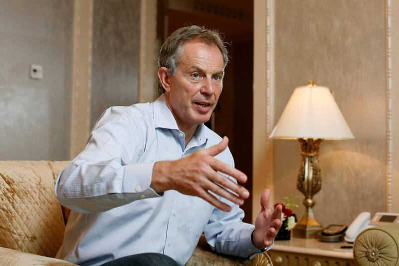 ABU DHABI, UNITED ARAB EMIRATES - March 21, 2009: Former Prime Minister of Britain, Tony Blair talks about the Tony Blair Faith Foundation and the steps needed for peace in Palestine and Israel, seen at Emirates Palace.( Ryan Carter / The National ) *** Local Caption ***  RC004-TonyBlair.JPGna22mr-Blair.JPG