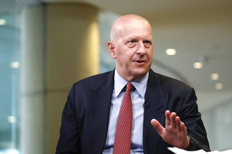 David Solomon, chief executive officer of Goldman Sachs & Co., speaks during a Bloomberg Television interview at the Milken Institute Global Conference in Beverly Hills, California, U.S., on Monday, April 29, 2019. The conference brings together leaders in business, government, technology, philanthropy, academia, and the media to discuss actionable and collaborative solutions to some of the most important questions of our time. Photographer: Patrick T. Fallon/Bloomberg via Getty Images