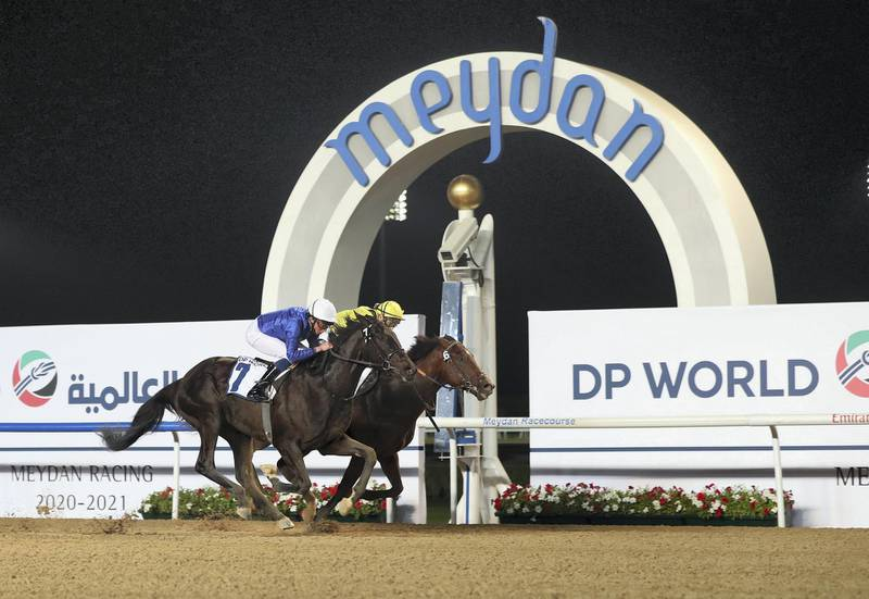 Dubai, United Arab Emirates - Reporter: Amith Passela. Sport. Horse Racing. Number 7 Rebel's Romance ridden by William Buick wins the UAE 2000 Guineas Trial at the Dubai World Cup Carnival Week 2. Dubai. Thursday, January 14th, 2021. Chris Whiteoak / The National