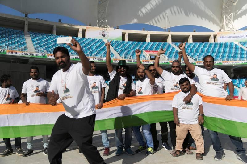 DUBAI, UNITED ARAB EMIRATES - JANUARY 11, 2019.   Crowds cheering ahead of Rahul Gandhi's speech today at Dubai International Cricket Stadium.  (Photo by Reem Mohammed/The National)  Reporter: Ramola Talwar. Section:  NA