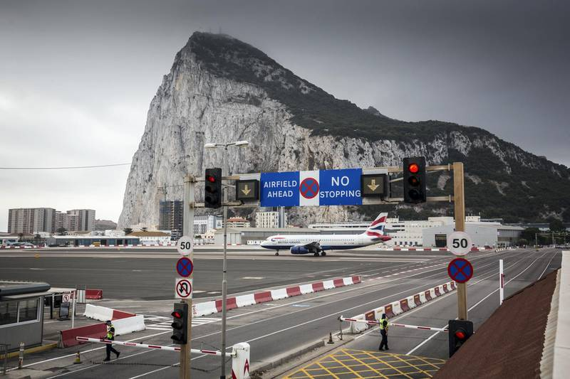GIBRALTAR, GIBRALTAR - SEPTEMBER 11:  A British Airways flight from London arrives in Gibraltar on September 11, 2018 in Gibraltar, Gibraltar.  As the date for the United Kingdom's departure from the European Union approaches, the effects of Brexit on the self-governing 6.8 square-kilometre enclave, whose 34,000 residents voted 96 percent to remain and is already outside the EU customs union, remains still unclear.  A British territory for 300 years, which has a land border with Spain, has a $2.9 billion services economy which heavily relies on frontier workers coming from Spain for about 50 percent of its labour force.  (Photo by Matt Cardy/Getty Images)