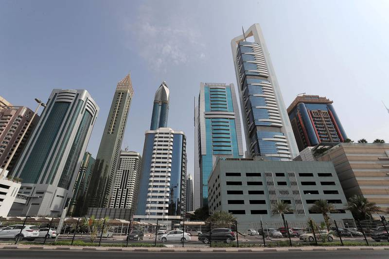 DUBAI , UNITED ARAB EMIRATES ,  October 21 , 2018 :- View of the Dubai Skyline on Sheikh Zayed road in Dubai. ( Pawan Singh / The National )  For News.