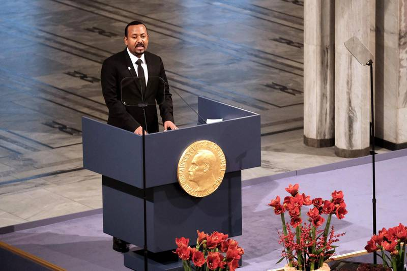 OSLO, NORWAY - DECEMBER 10: Ethiopia's Prime Minister and Nobel Peace Prize Laureate Abiy Ahmed Ali speaks on stage after being awarded with the Nobel Peace Prize during the Nobel Peace Prize ceremony 2019 at Oslo City Town Hall on December 10, 2019 in Oslo, Norway. The Prime Minister of Ethiopia, Abiy Ahmed, has been jointly awarded the 2019 Nobel Peace Prize in recognition for his efforts to achieve peace and international cooperation, and in particular for his decisive initiative to resolve the border conflict with neighbouring Eritrea. (Photo by Erik Valestrand/Getty Images)