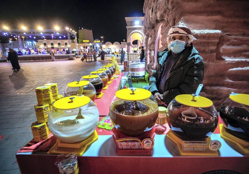 Abu Dhabi, United Arab Emirates, January 10, 2021. Honey for sale at the Jordanian market area at the Sheikh Zayed Festival.Victor Besa/The NationalSection:  NAReporter:  Saeed Saeed