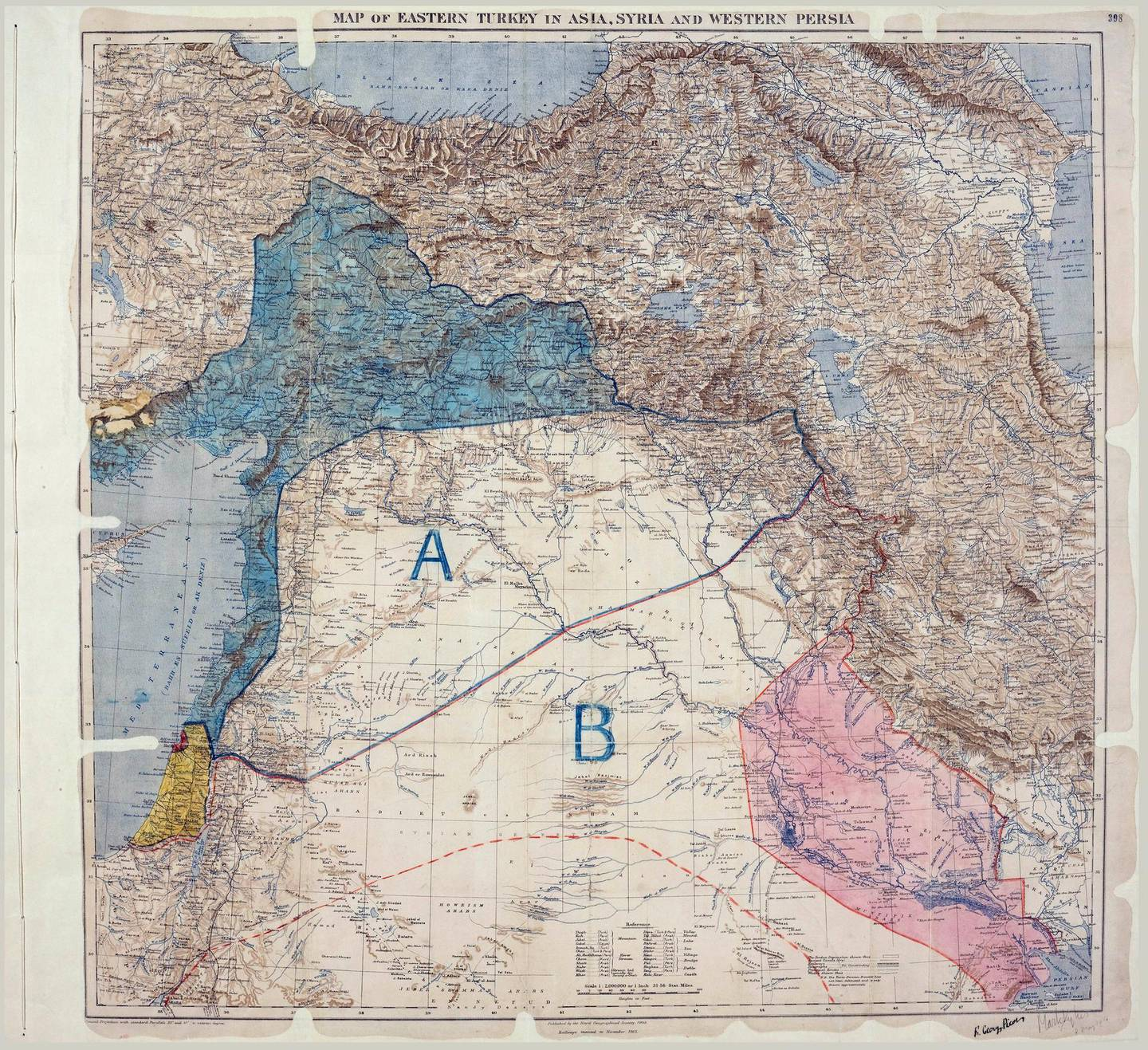"""Sykes-Picot Agreement - Original Map - English (1916). Sykes, M. and Georges-Picot, F. (1916) """"Map of Eastern Turkey in Asia, Syria and Western Persia."""" UNISPAL"""