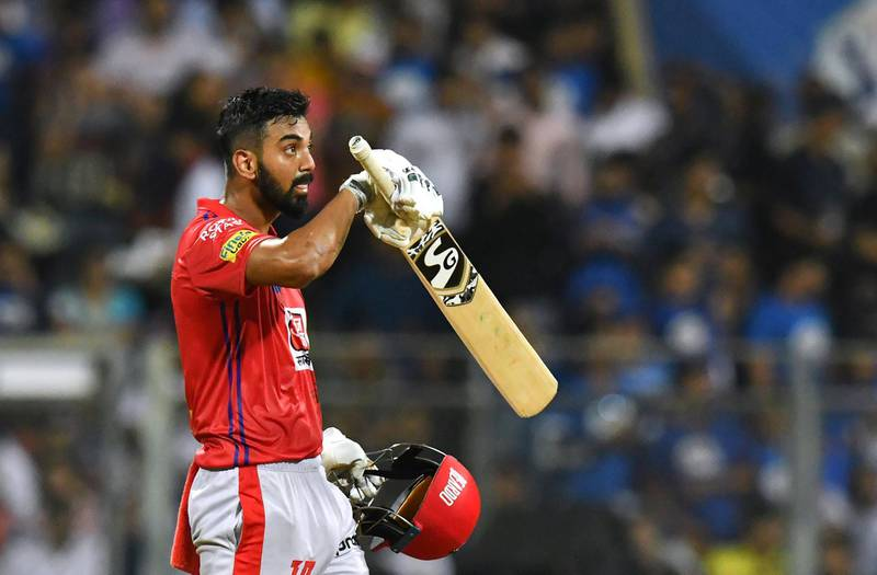 Kings XI Punjab cricketer Lokesh Rahul reacts after scoring a century (100 runs) during the 2019 Indian Premier League (IPL) Twenty20 cricket match between Mumbai Indians and Kings XI Punjab at the Wankhede cricket stadium in Mumbai on April 10, 2019. (Photo by Indranil MUKHERJEE / AFP) / ----IMAGE RESTRICTED TO EDITORIAL USE - STRICTLY NO COMMERCIAL USE----- / GETTYOUT