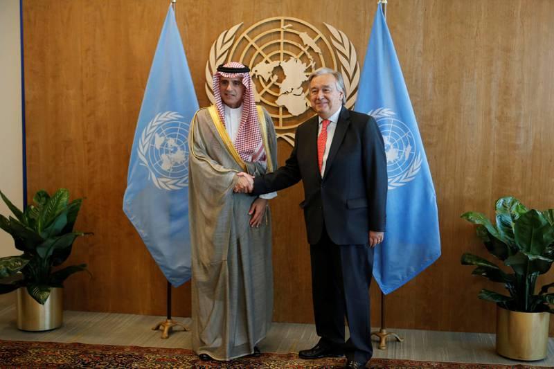 Saudi Arabia's Foreign Minister Adel bin Ahmed Al-Jubeir (L) is greeted by United Nations Secretary General Antonio Guterres at the U.N. Headquarters in New York City, U.S., September 17, 2017. REUTERS/Joe Penney