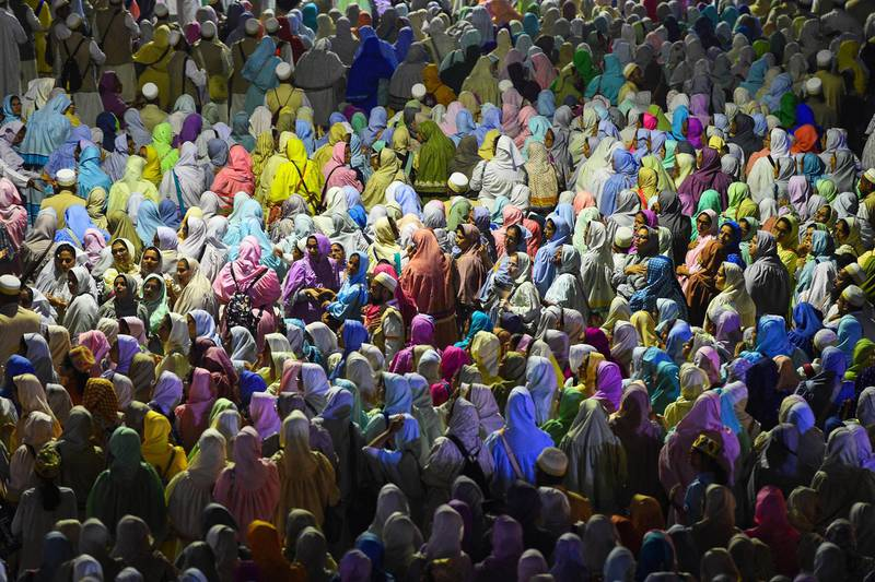 Muslim women pilgrims of the Dawoodo Bohra community take part in a Bohra ceremony in Colombo on September 8, 2019, in the run up to Ashura, one of the holiest days in Shiite Islam and commemorates the 7th century martyrdom of Prophet Mohammed's grandson. - Ashura is one of the most important festivals for Shiite Muslims, and falls on the 10th day of Muharram, which is the mourning period for the seventh-century killing of Imam Hussein, the grandson of the Prophet Muhammad. (Photo by ISHARA S. KODIKARA / AFP)